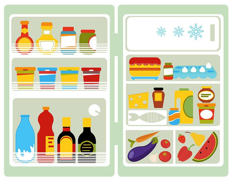 disegno frigorifero aperto